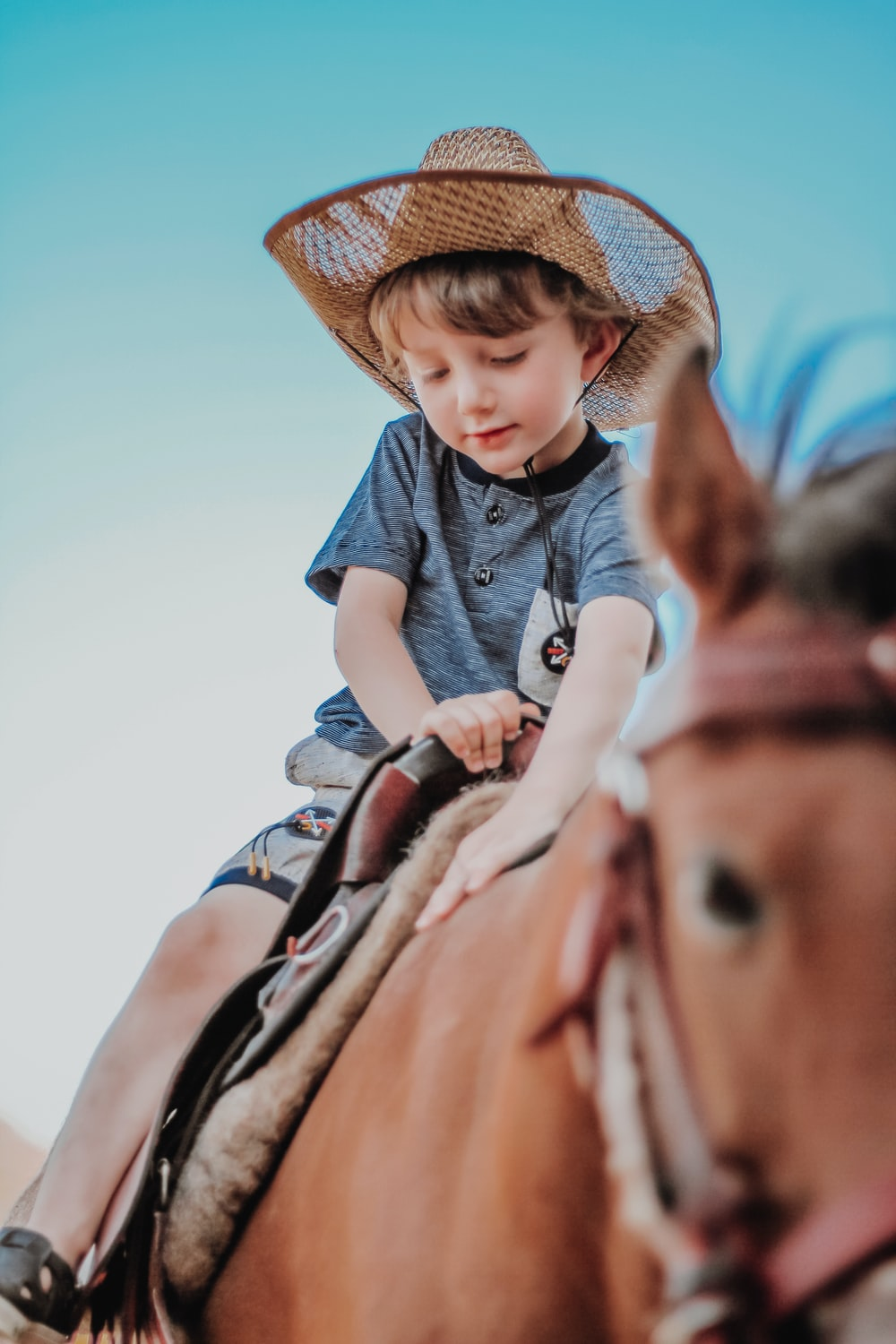 boy in blue and white polo shirt and brown cowboy hat riding brown horse during daytime