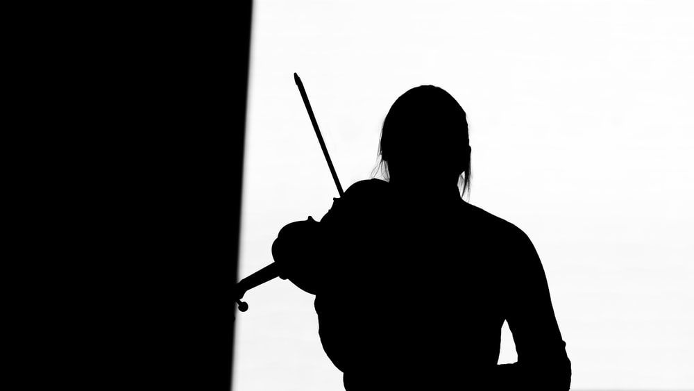 silhouette of woman holding stick