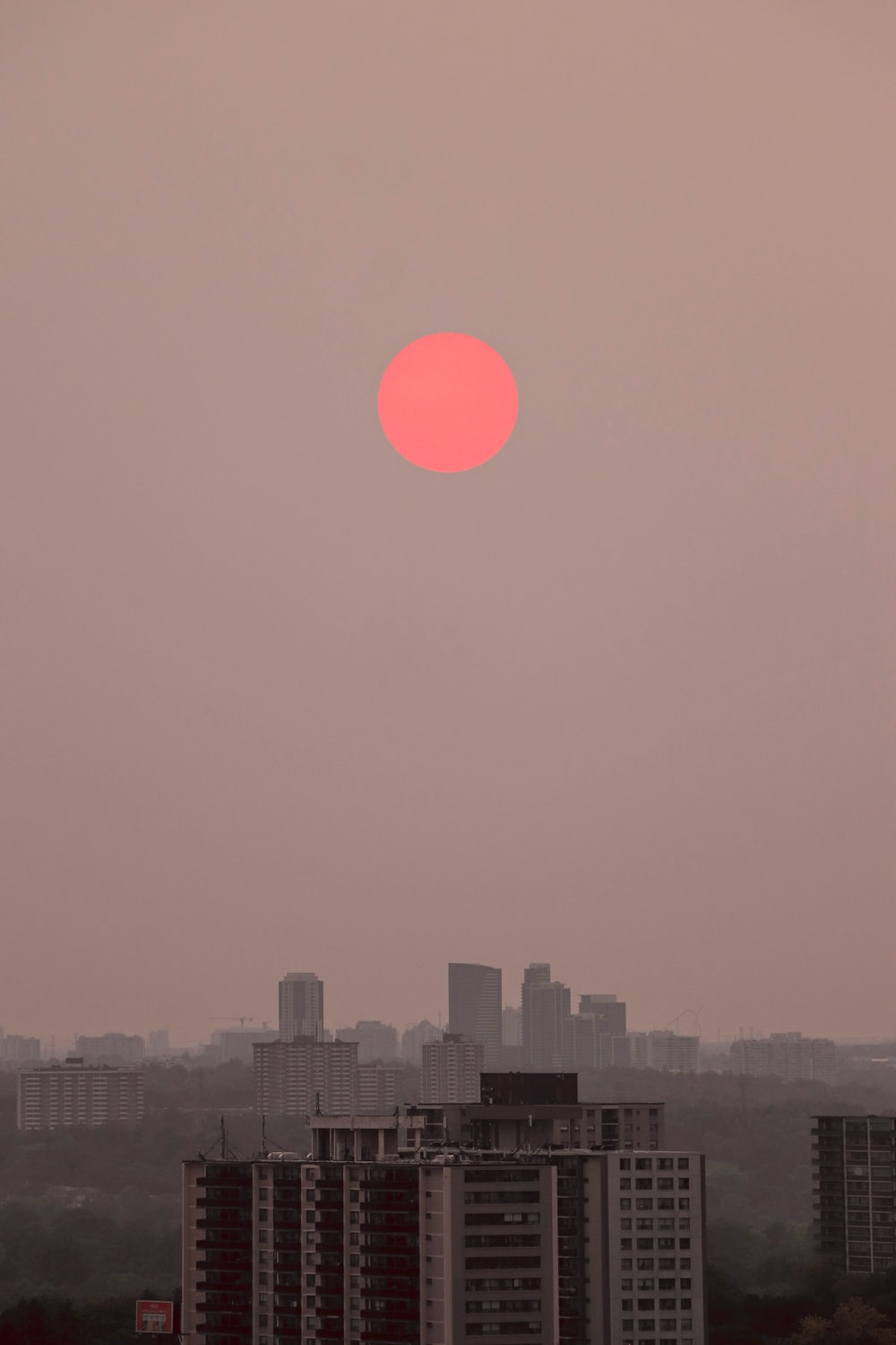 city skyline during sunset with red moon