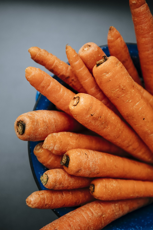 orange carrots on blue round plate
