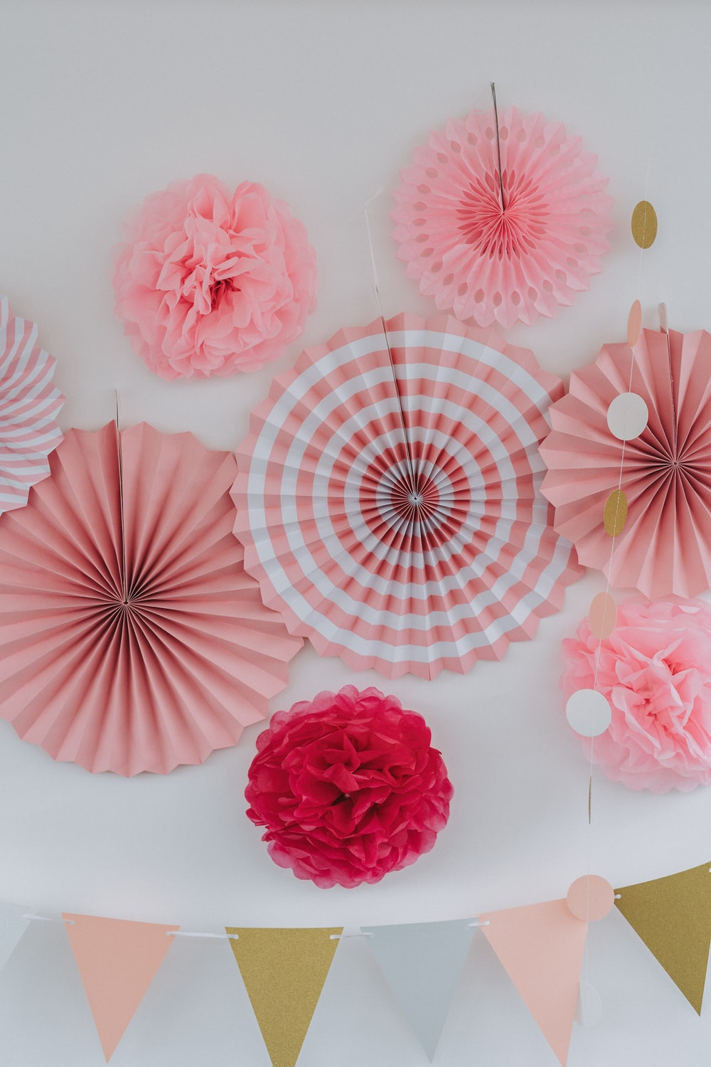 pink and white floral umbrella