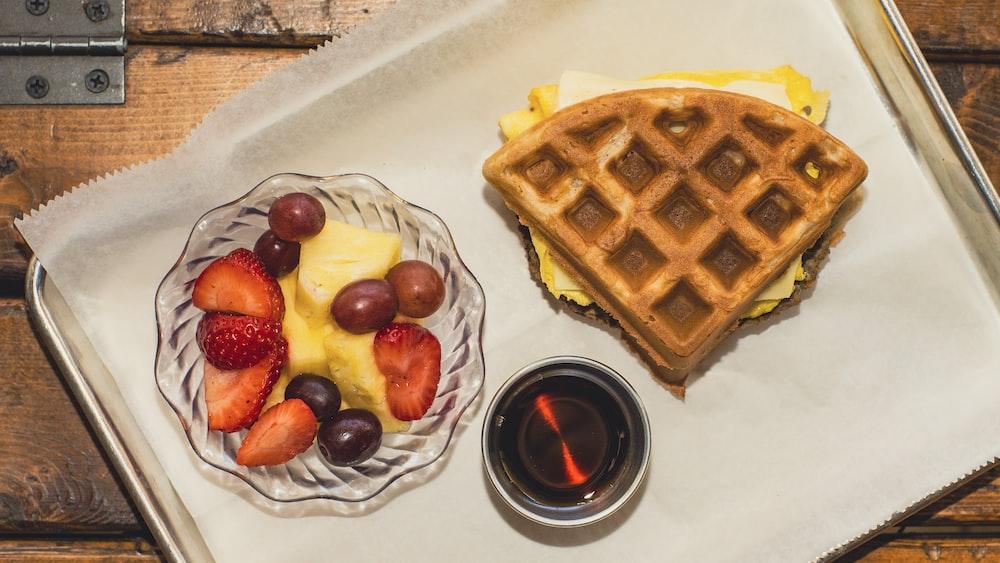 waffle with waffle on white ceramic plate