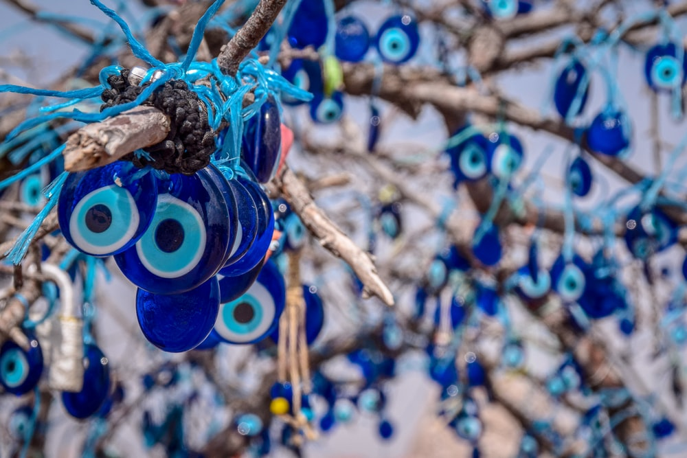 blue and yellow round ornament