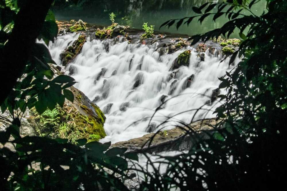 water falls in the middle of green moss covered rocks