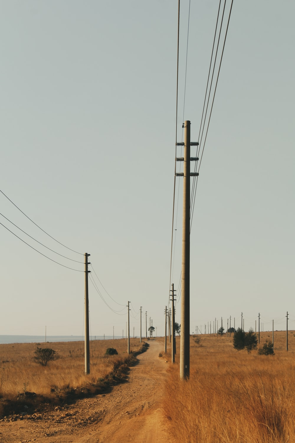 brown electric post on brown field under white sky during daytime