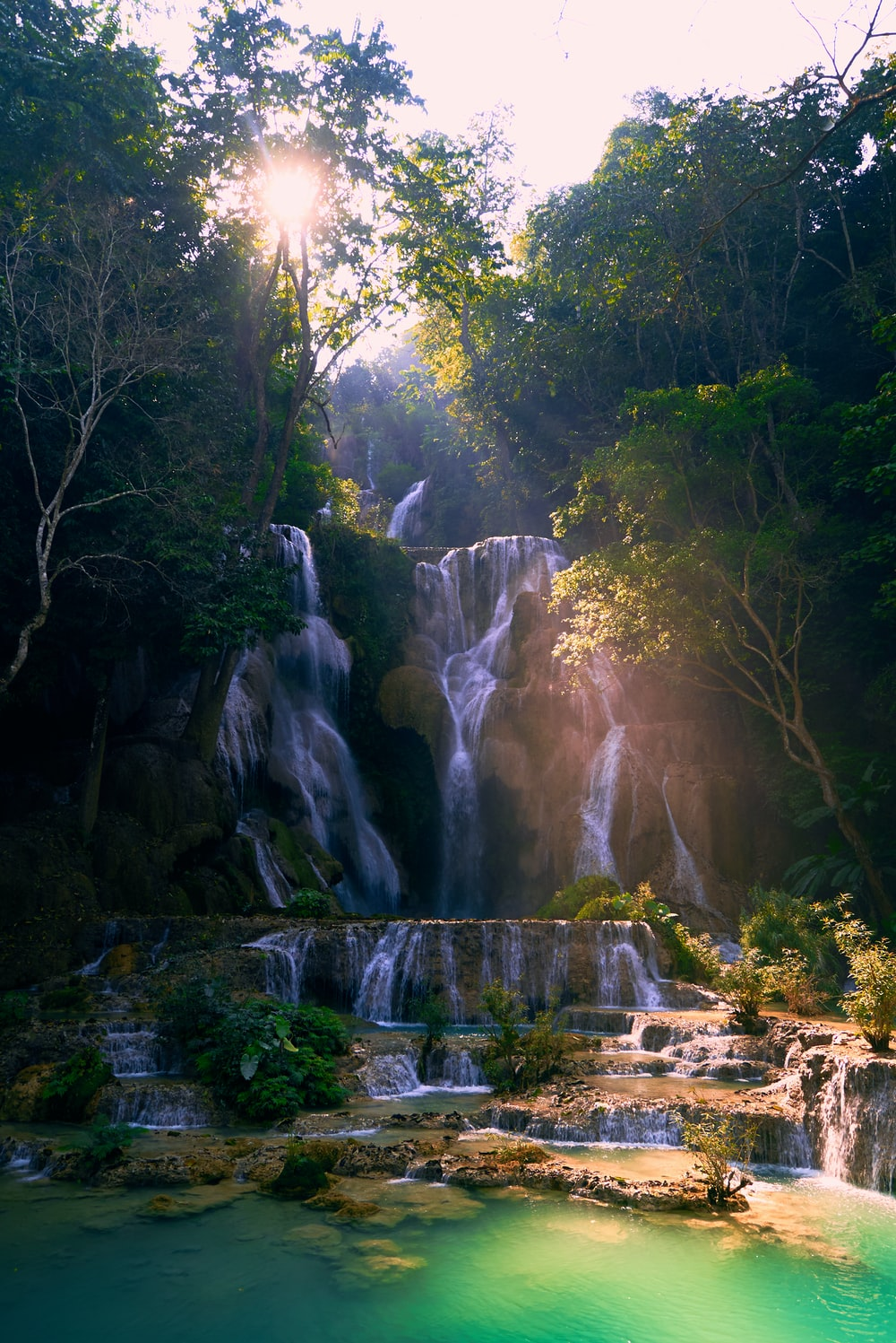 waterfalls in the middle of the forest during daytime