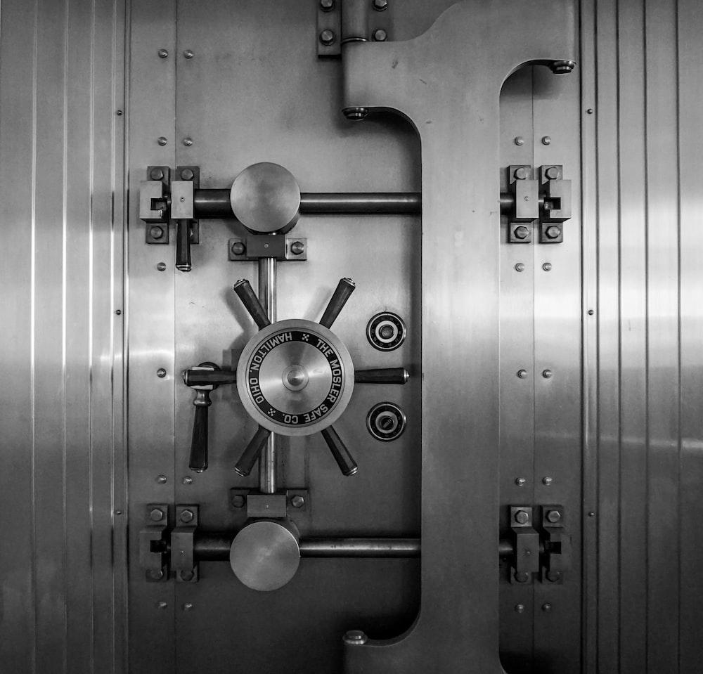 gray steel door with silver door knob