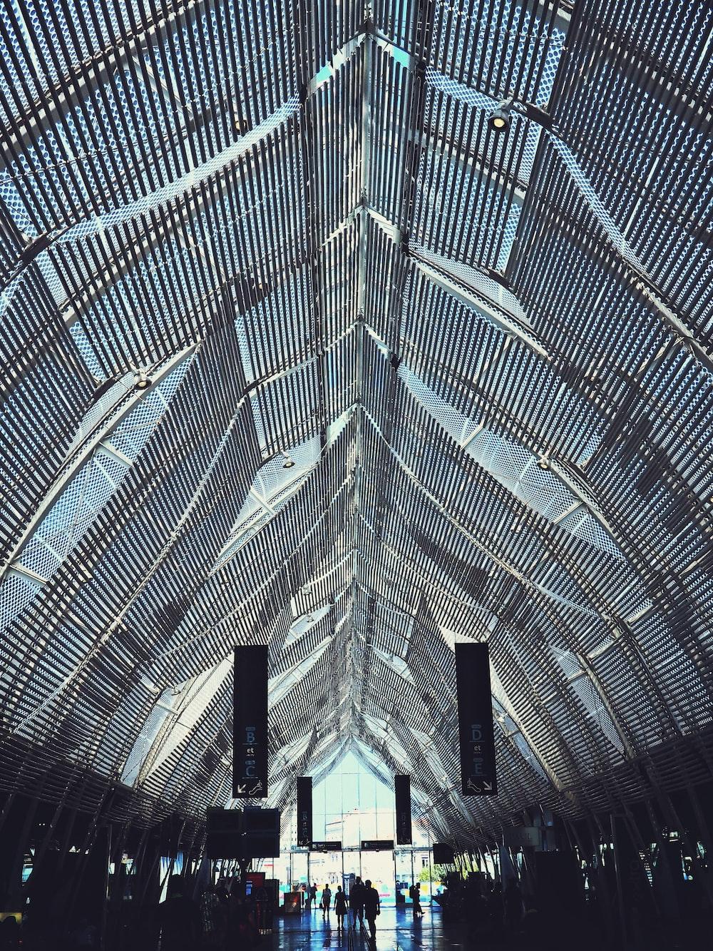 gray metal frame on building