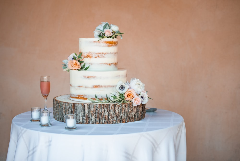 3 tier cake on table
