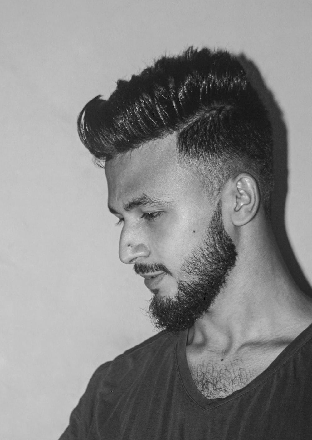 mens haircut with fade and beard