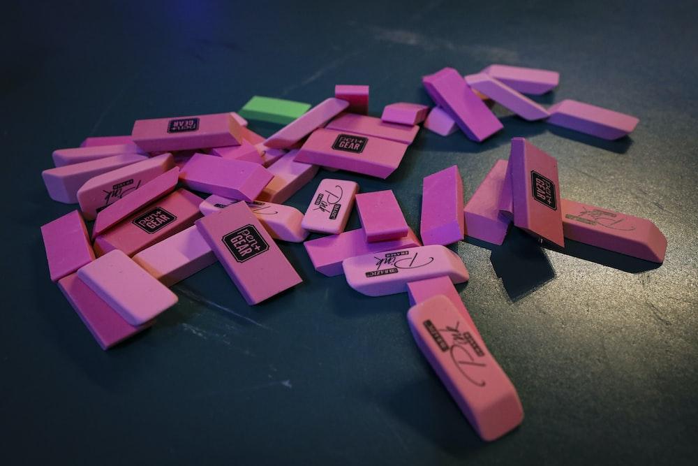 pink and purple plastic blocks