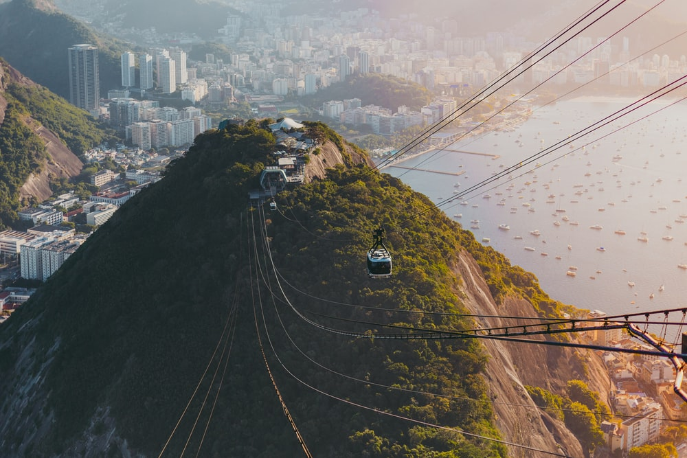 cable cars over the city during daytime