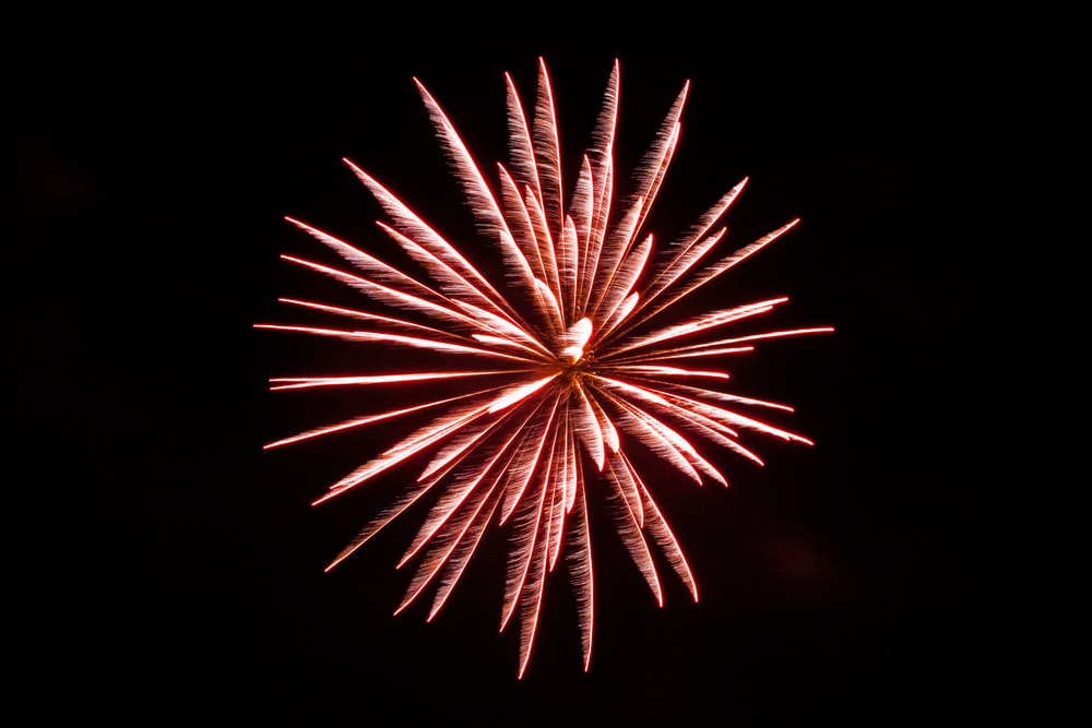 red fireworks in the sky