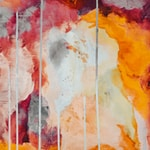 yellow red and white abstract painting