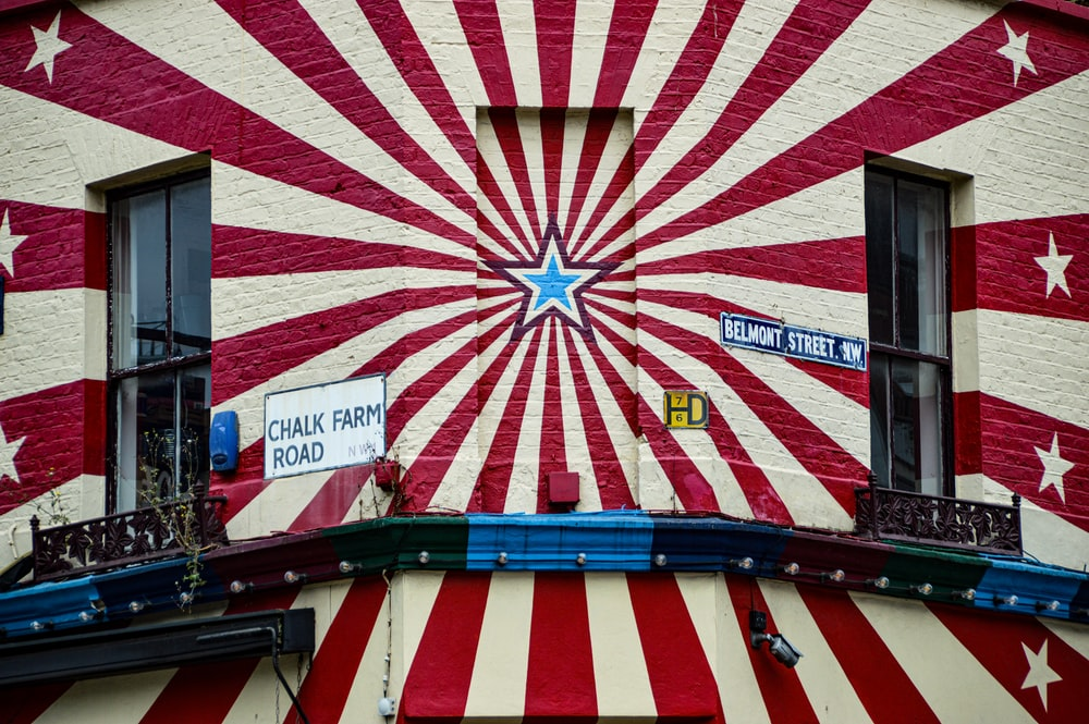 red white and blue striped building
