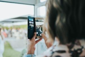 woman taking photo of herself