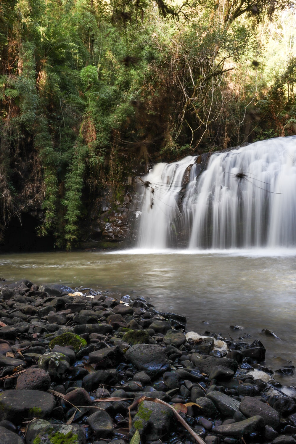 water falls surrounded by rocks and trees