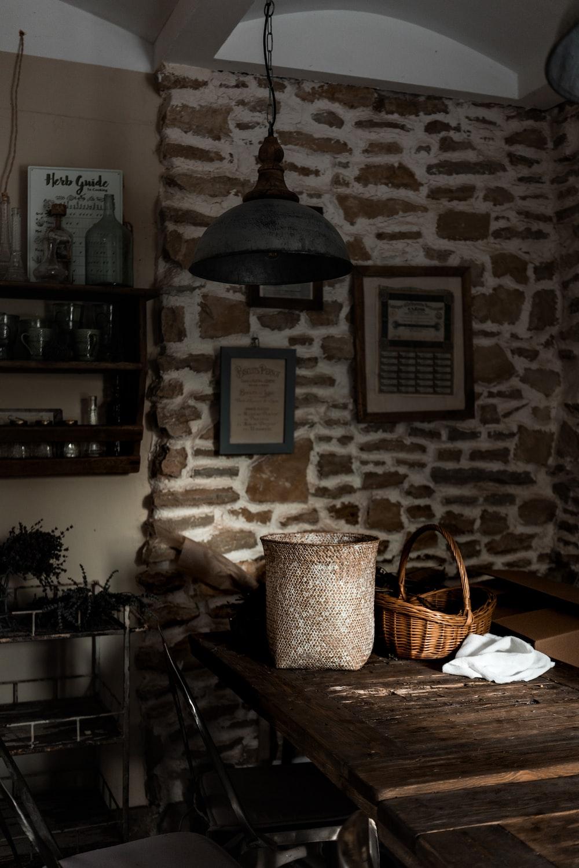brown woven basket on table