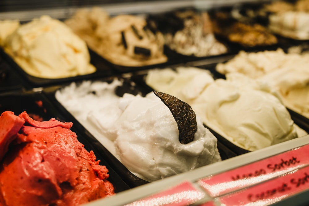 white ice cream on black tray