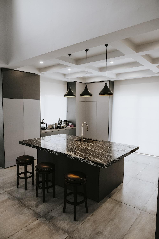 black and white kitchen counter