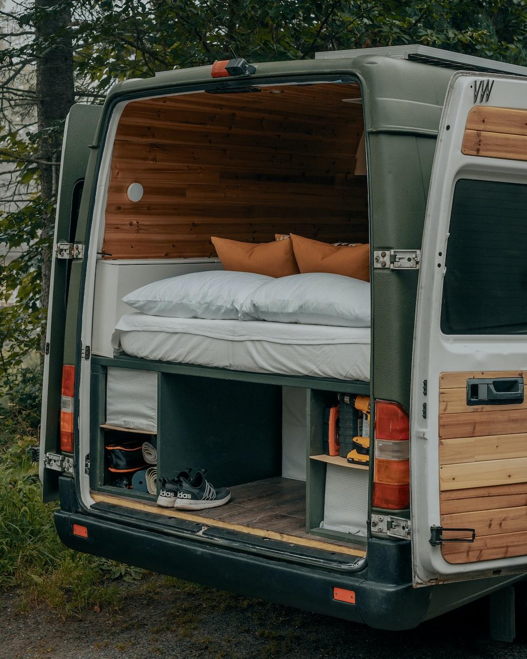 white van with brown wooden door