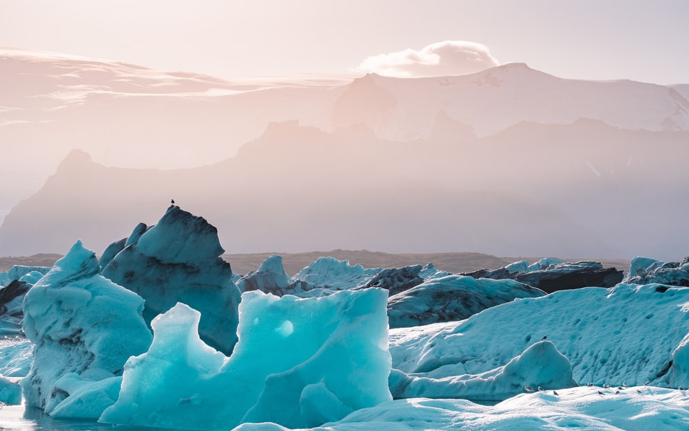 ice formation under gray sky