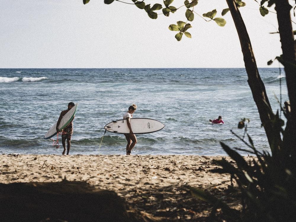 2 men holding white surfboard walking on beach shore during daytime