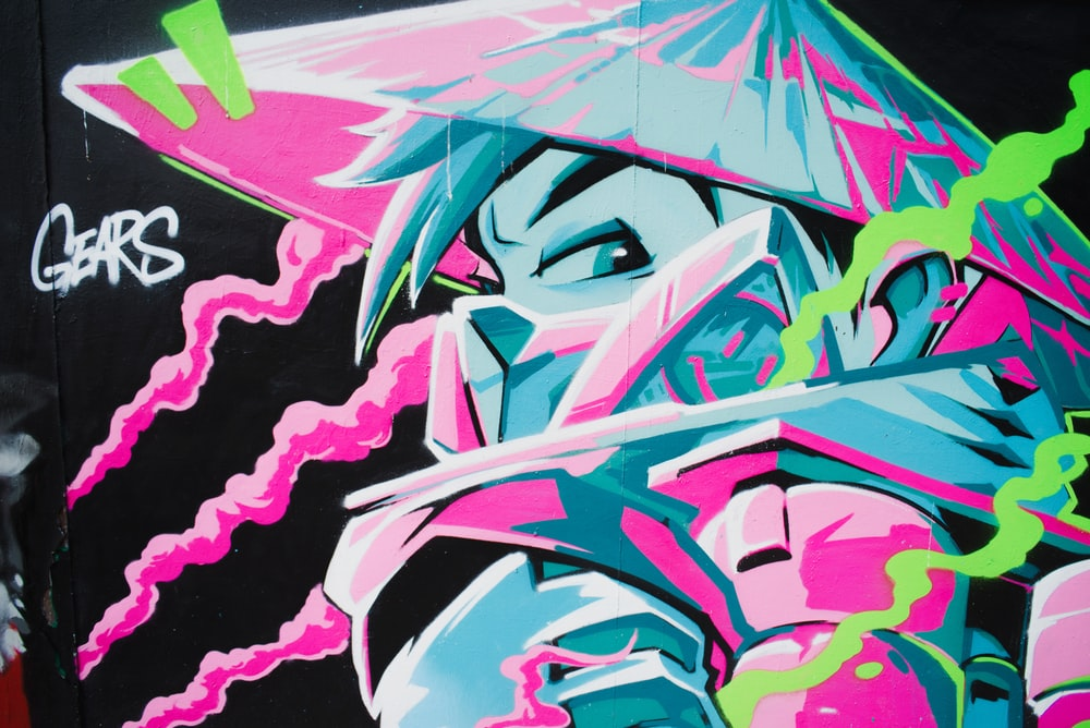 pink black and white abstract painting