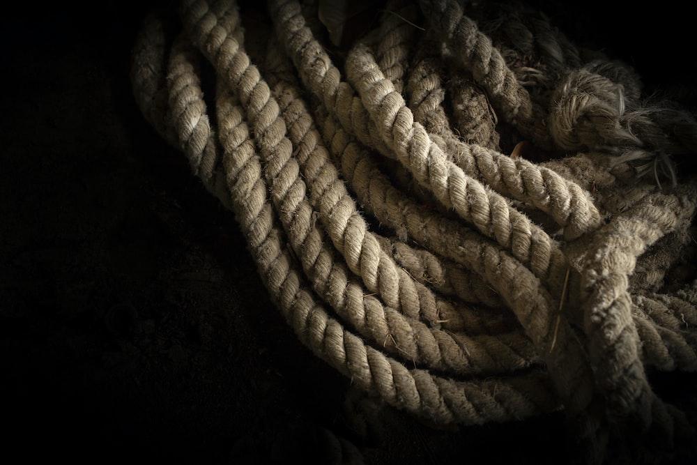 brown rope in black background
