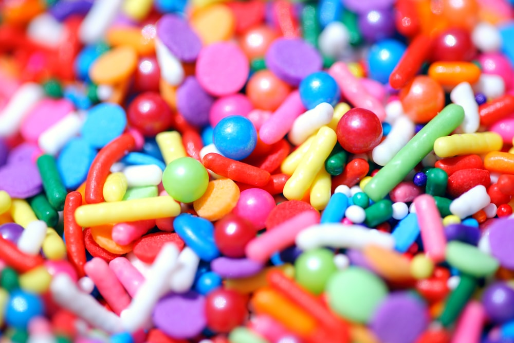 assorted color of m ms candies