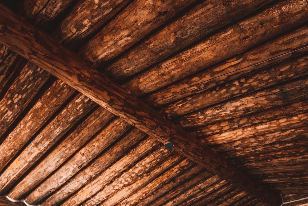 brown wooden ceiling with brown wooden ceiling