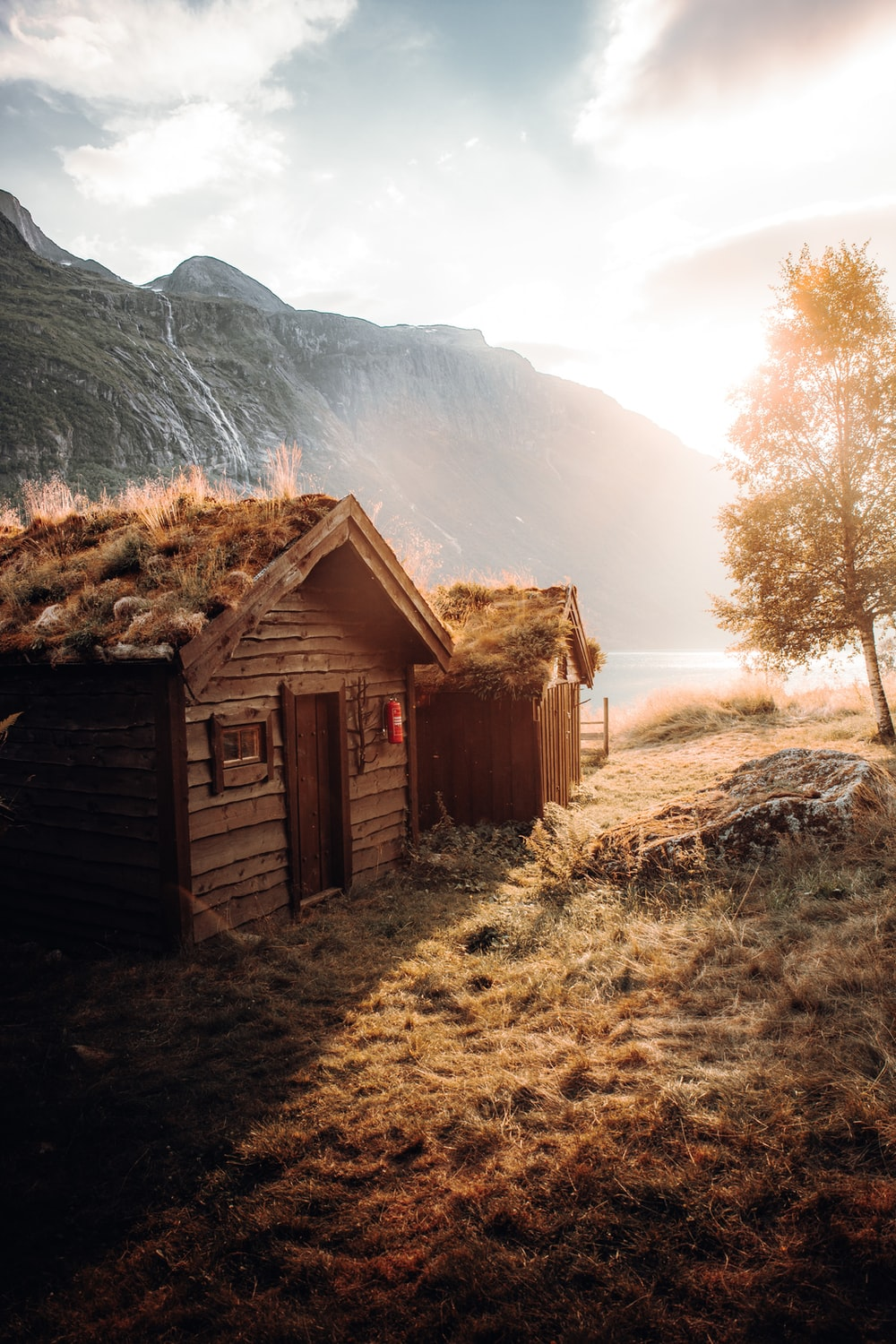 brown wooden house near brown trees and mountain during daytime