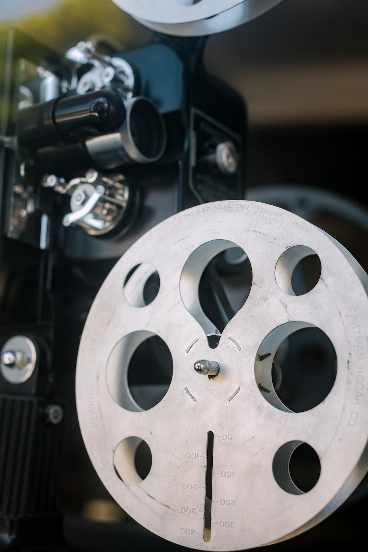 white and black camera lens