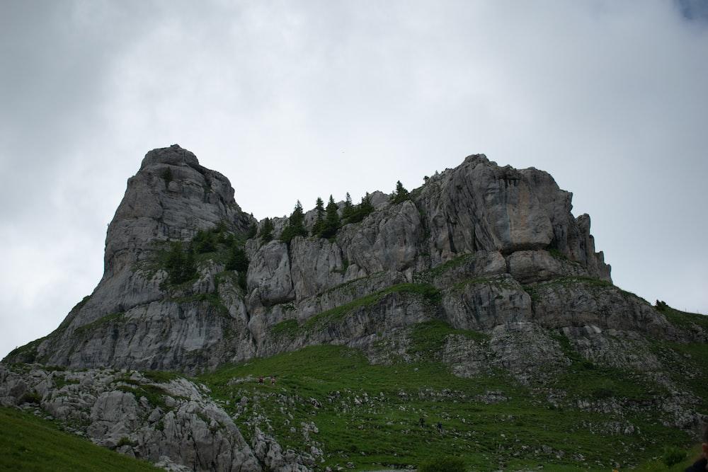 green grass field near gray rocky mountain under white sky during daytime