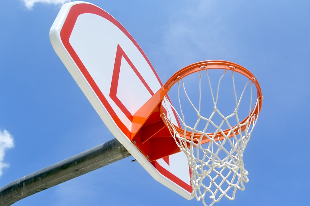 white red and blue basketball hoop