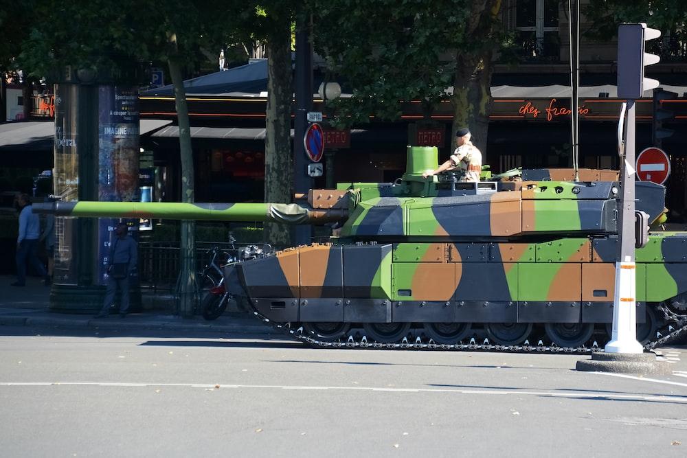 green and black battle tank