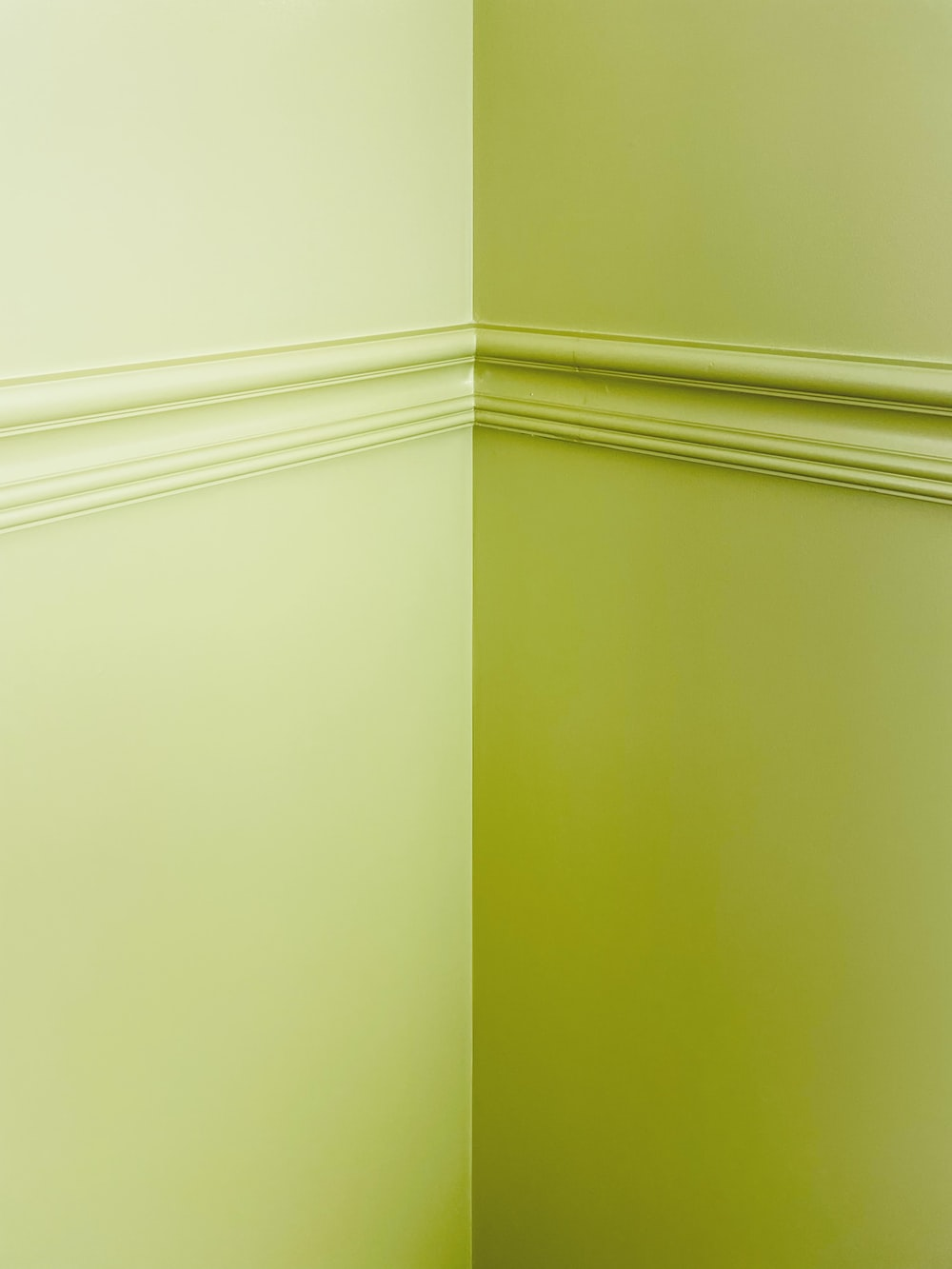 white and green painted wall