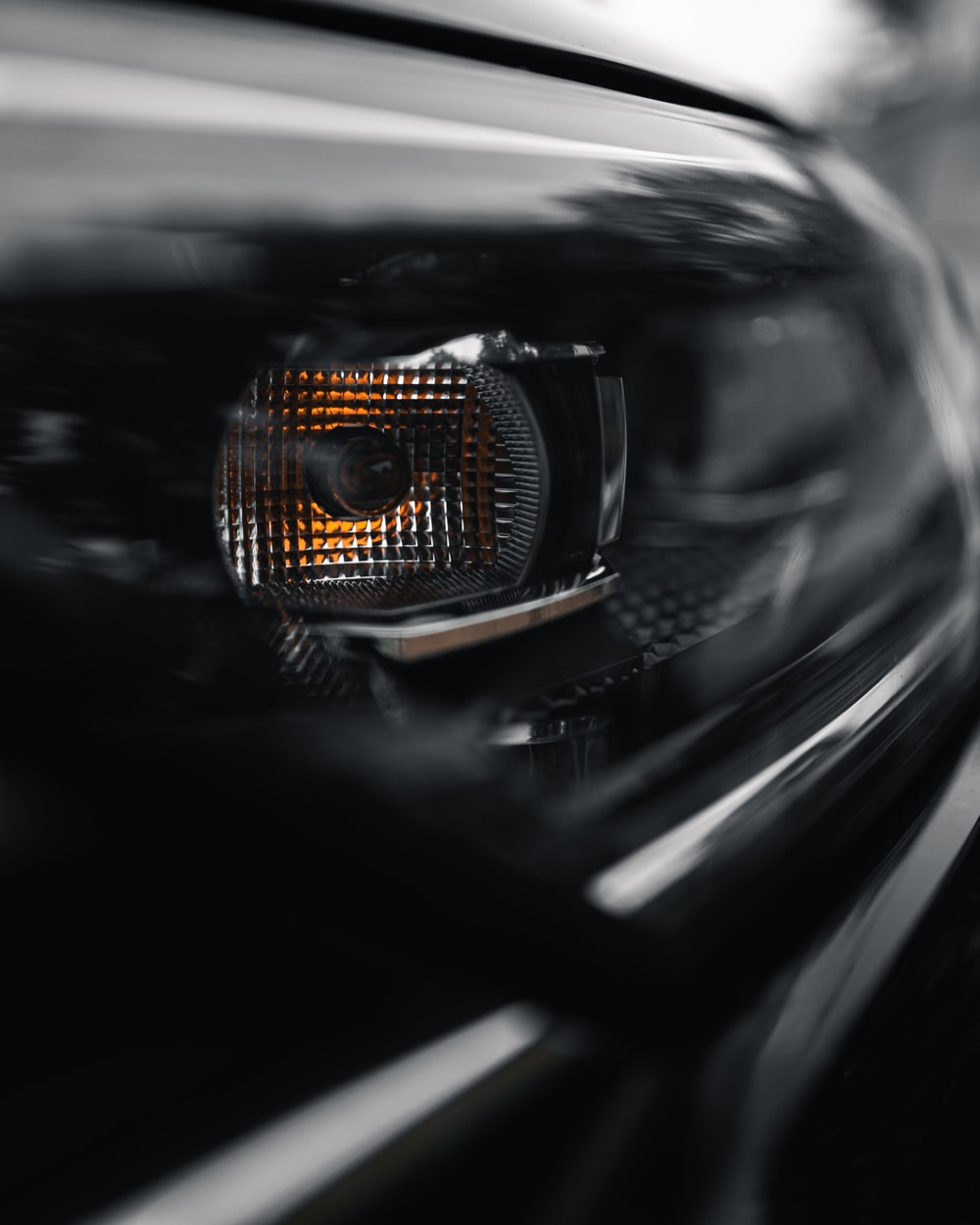 black car with yellow light