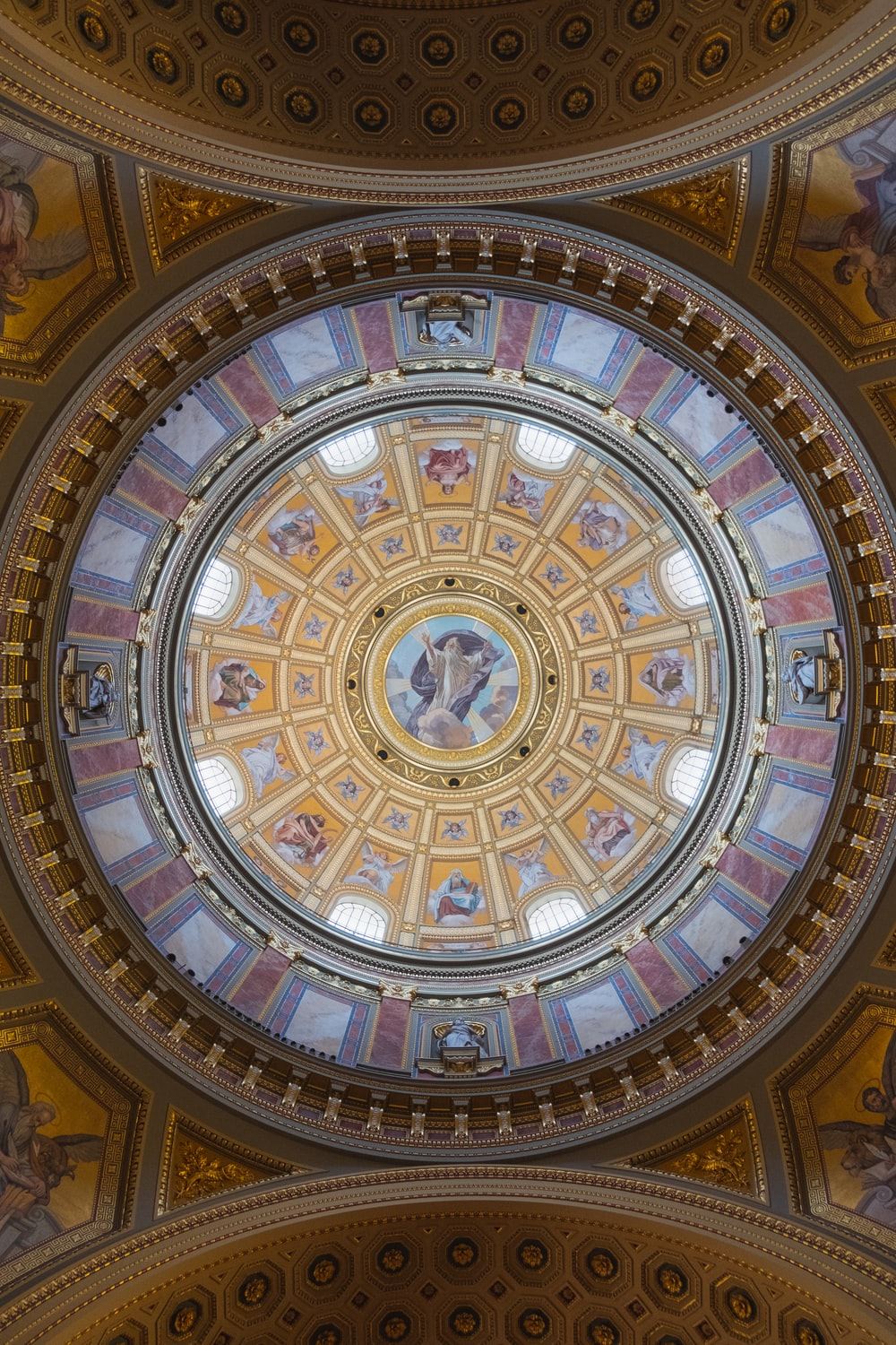 brown and blue round ceiling