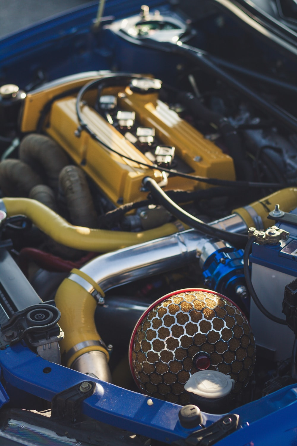 yellow and black car engine