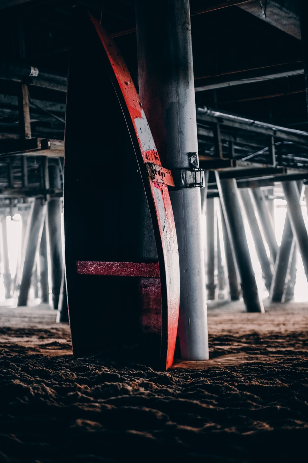 red and white metal post
