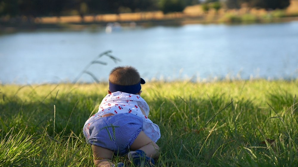 child in green and white stripe shirt sitting on green grass field near body of water