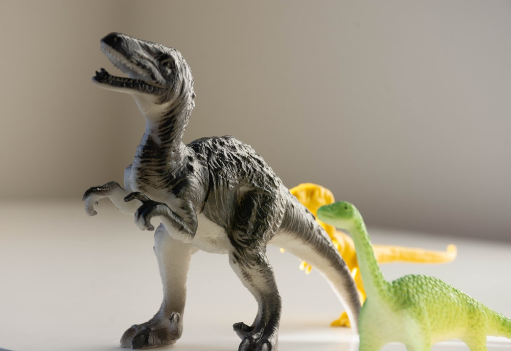 white and green dinosaur plastic toy
