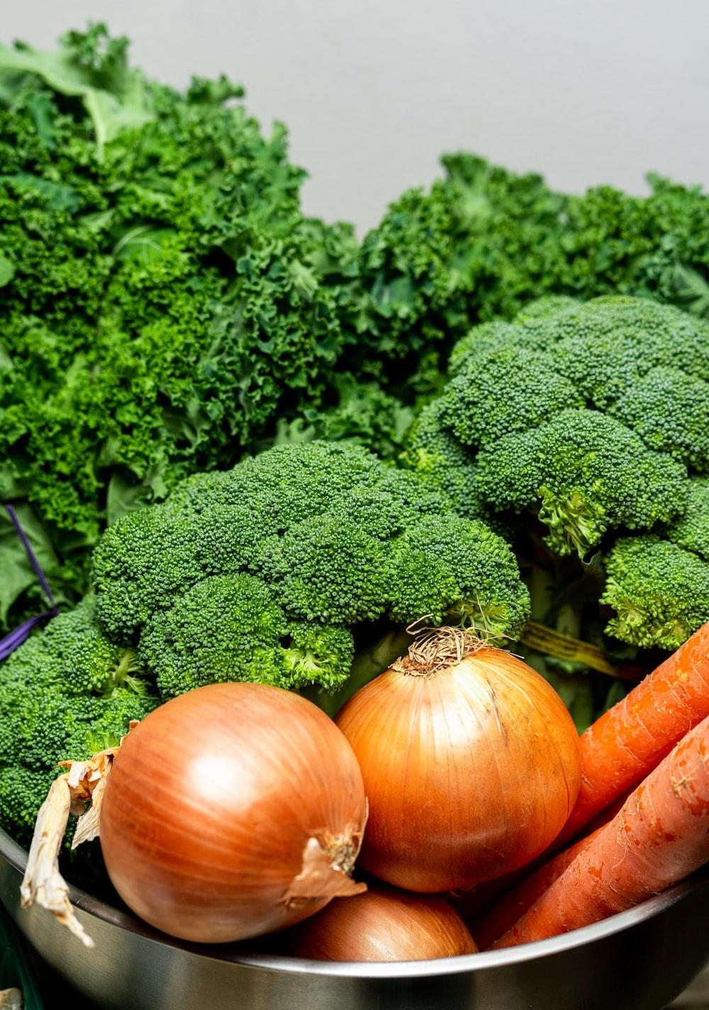 orange pumpkins and green vegetable
