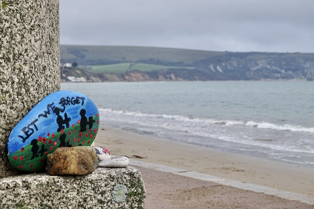 blue red and yellow ball on brown rock near sea during daytime