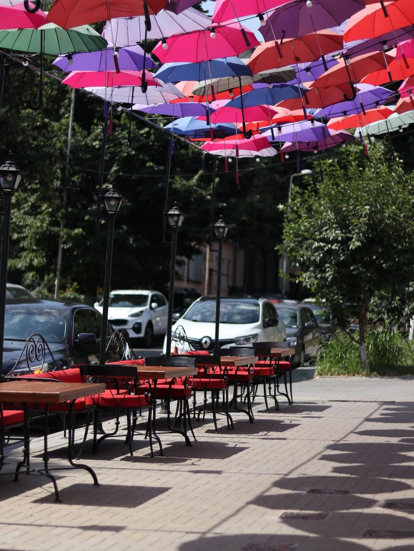 red and black patio umbrella