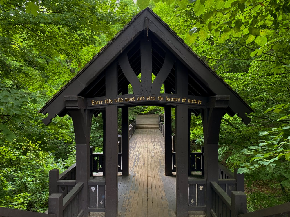 brown wooden gazebo surrounded by green trees during daytime