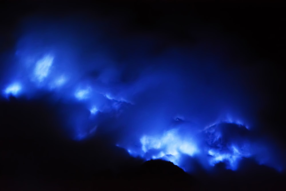 blue and white clouds during night time