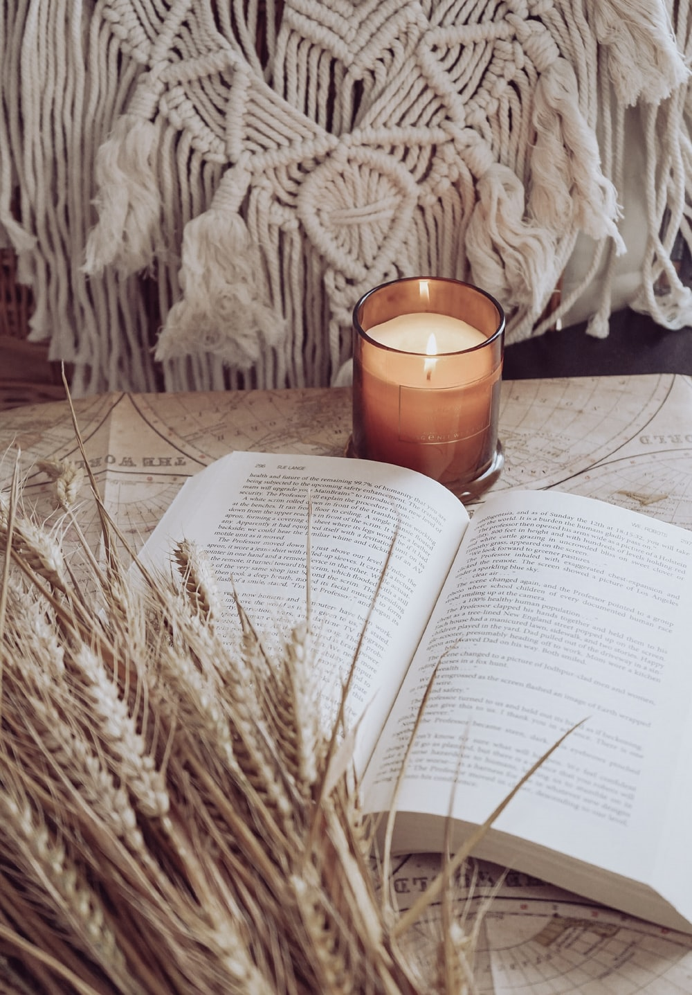 white book page with brown candle