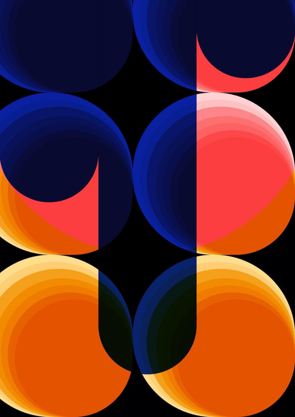 blue orange and red round lights